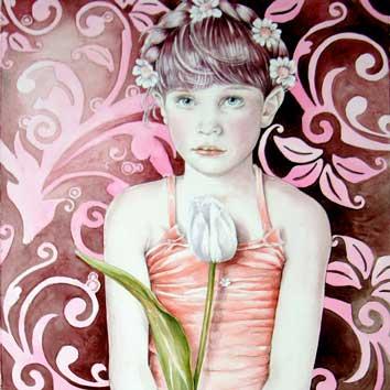 Portret van meisje met tulp