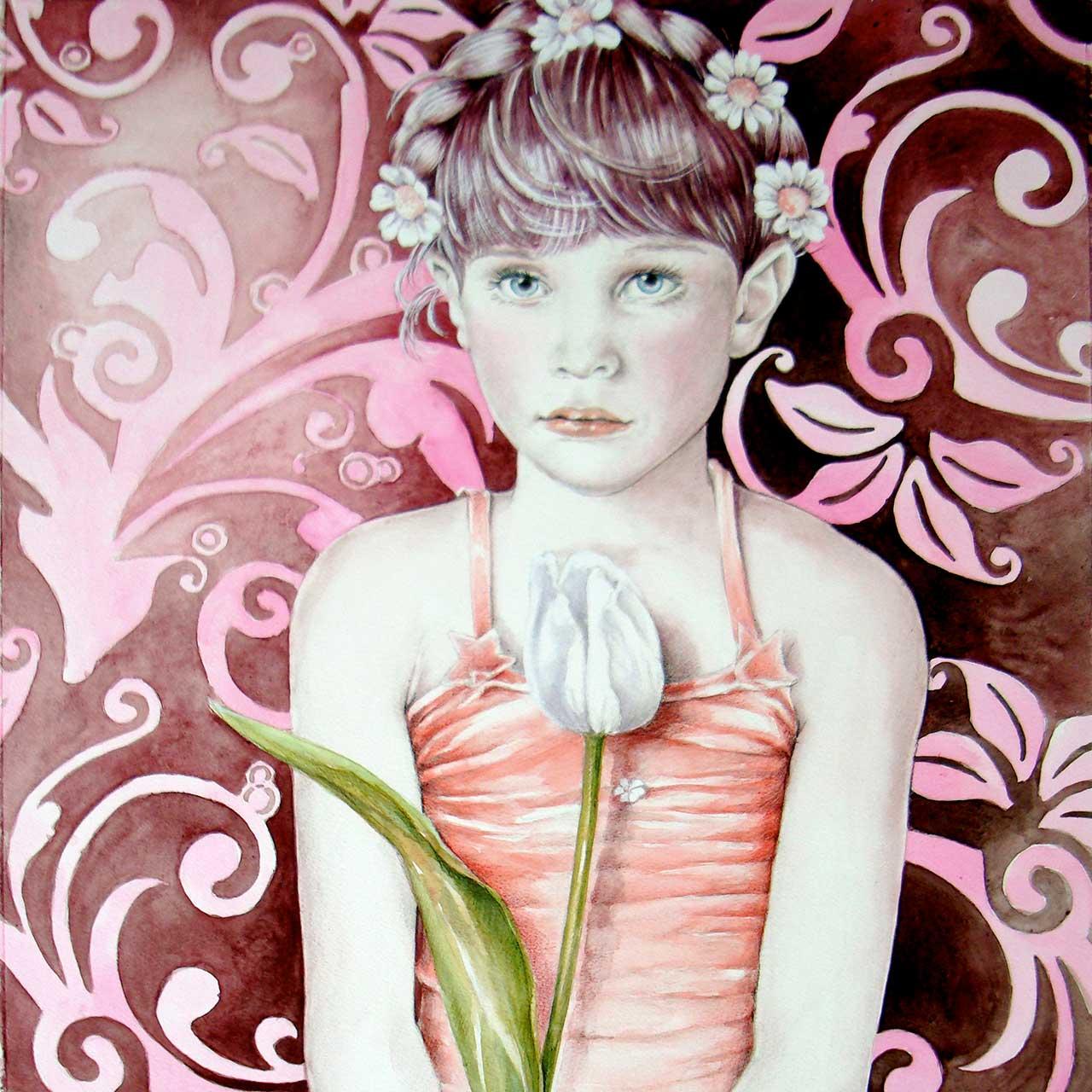 Hans De Cleen portret meisje met witte tulp