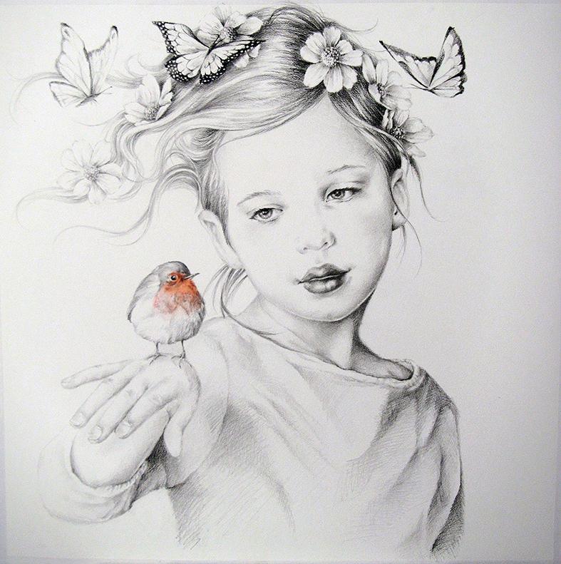 Hans De Cleen portret meisje met roodborstje