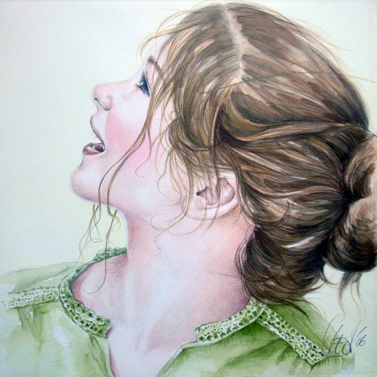 Hans De Cleen portret meisje in groen jurk