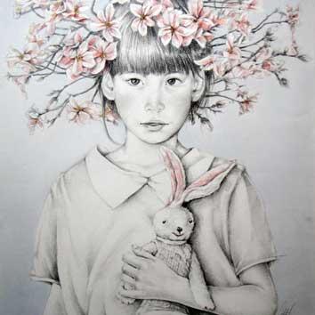 Portret van meisje met bloesemtakjes