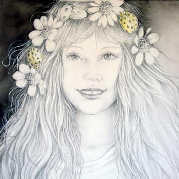 Portret van meisje met bloemenkrans