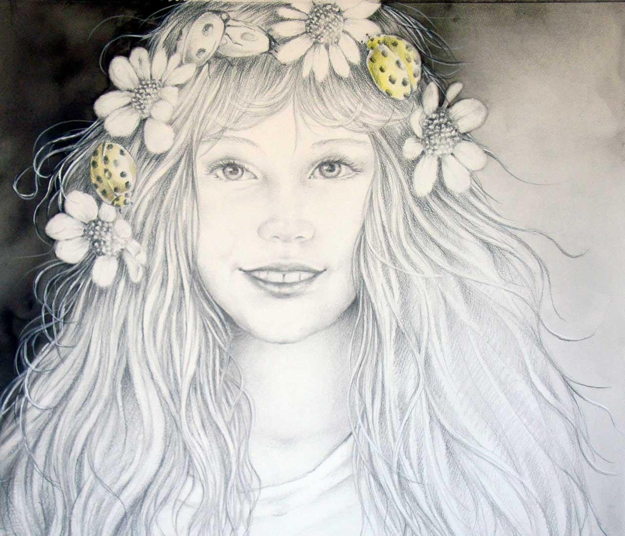 Hans De Cleen portret meisje met bloemenkrans in haar