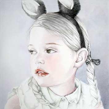 Portret van meisje met bunnydiadeem