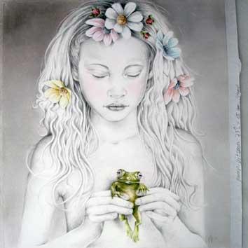 Portret van meisje met kikker