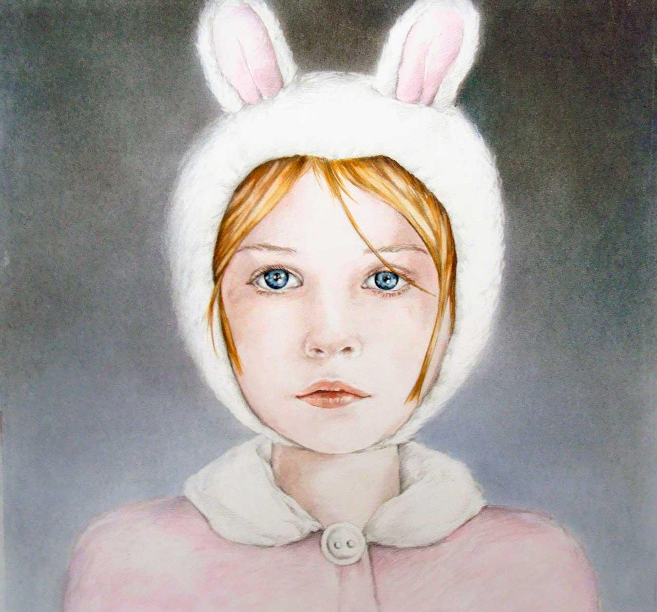 Hans De Cleen portret meisje met konijnenmuts