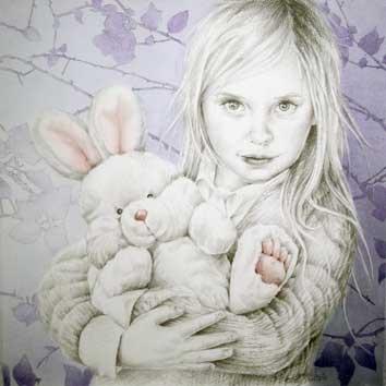Portret van meisje met pluche konijn
