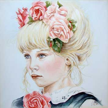 Portret van meisje met rozen