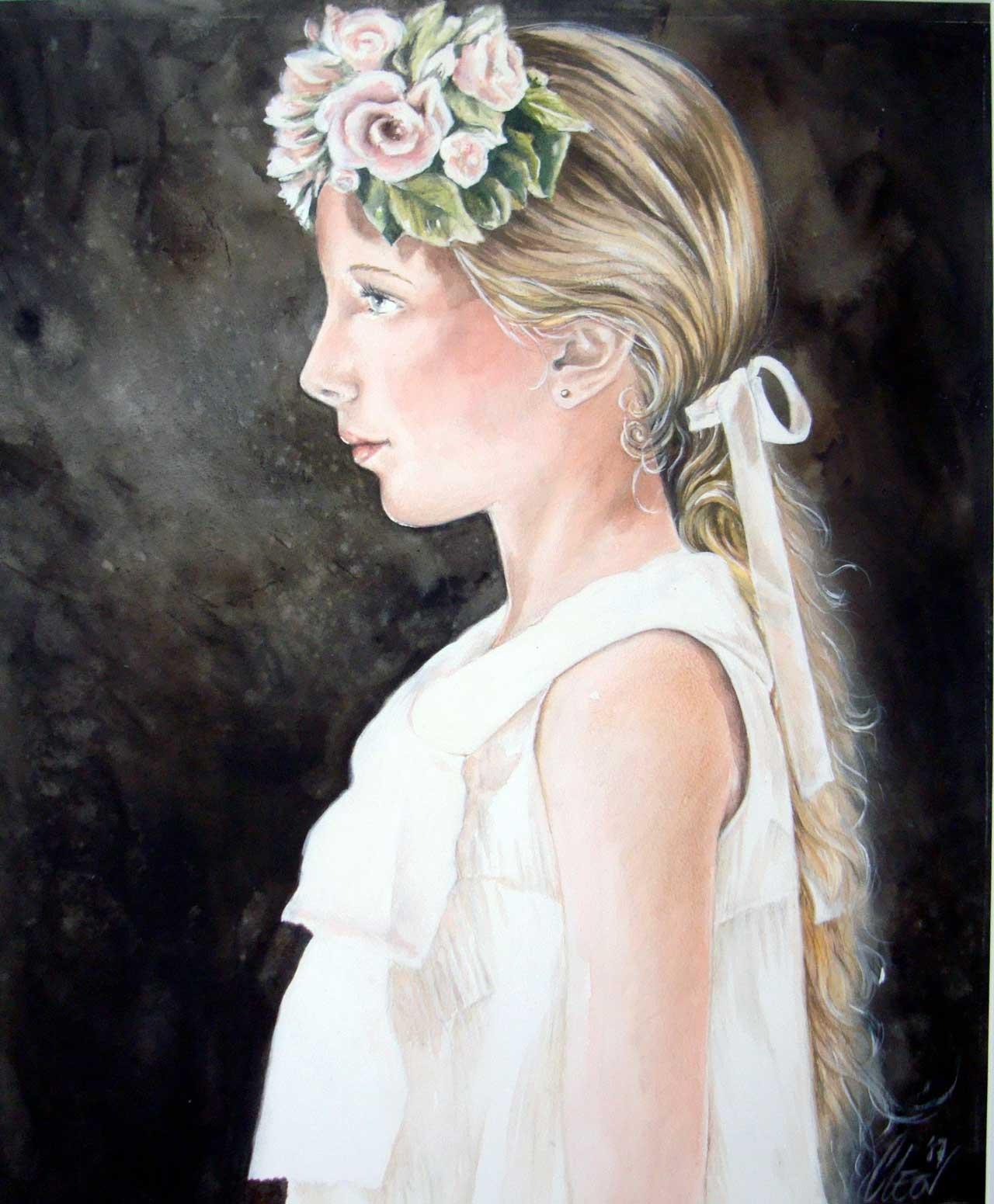 Hans De Cleen portret meisje met strik in haar