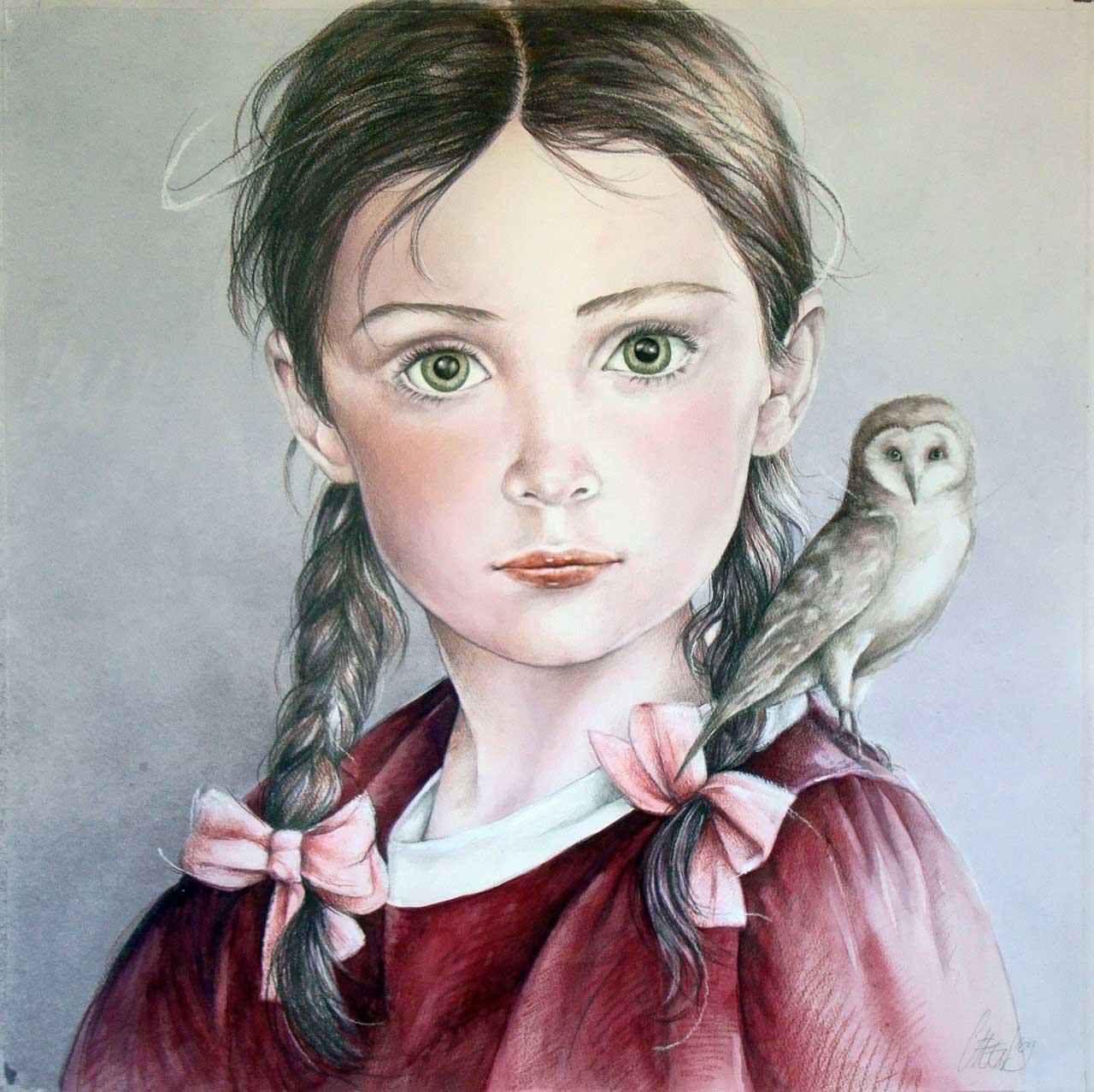 Hans De Cleen portret meisje met uiltje