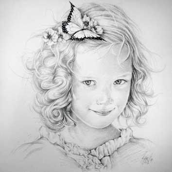 Portret van meisje met vlinder in haar