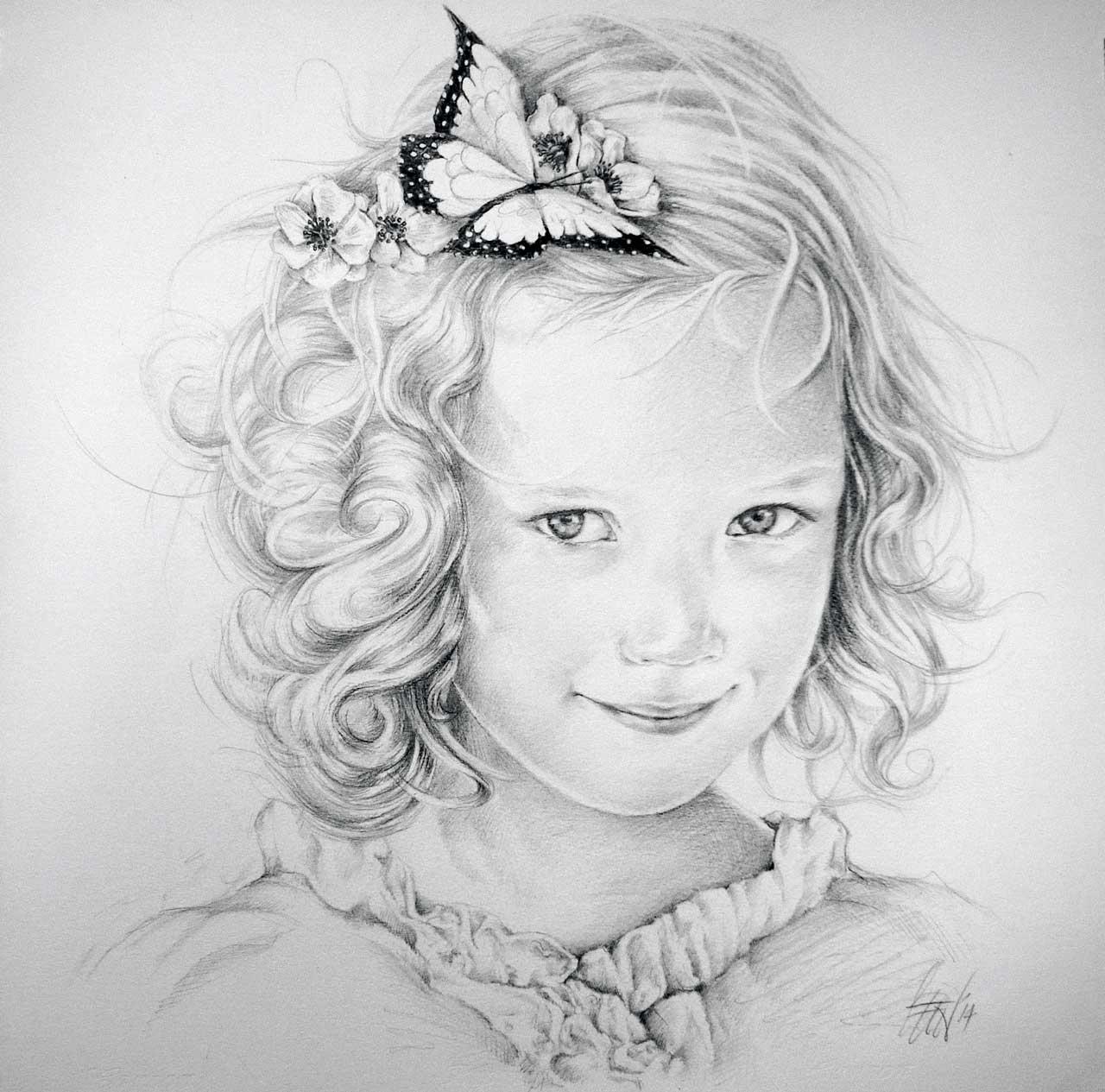 Hans De Cleen portret meisje met vlinder in haar